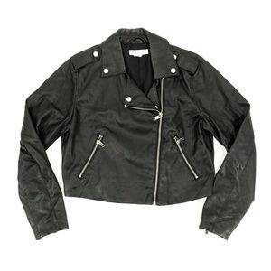 H&M Faux Leather Jacket Double Zip Pockets Sz 10 S